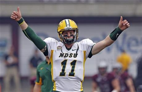 Carson Wentz is our top rated small school football player for the upcoming NFL Draft. This kid has all the tools to be great