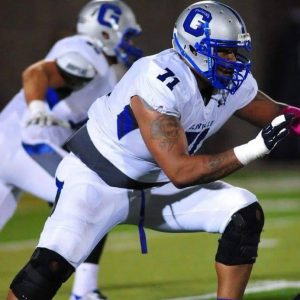 Glenville State College offensive lineman Leon Hill is a fierce blocker. The guy will make  you pay for standing in front of him