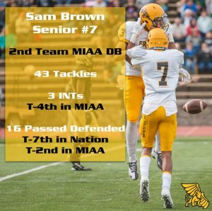 Defensive Back Sam Brown is a feisty defensive back, who was a pass break up machine his senior year