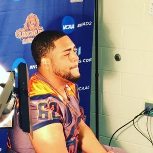 Lincoln University offensive lineman Jonathan Rijo is a big boy with great feet