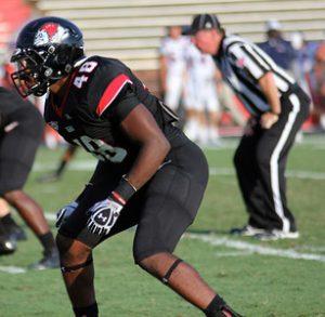 Gardner Webb University linebacker Azziz Higgins is a very sound tackler with great instincts