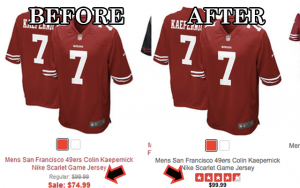 49ers have placed Colin Kaepernick jersey's back up to regular price