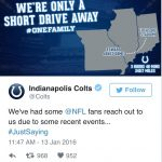 Colts take a shot to land Rams fans in Missouri