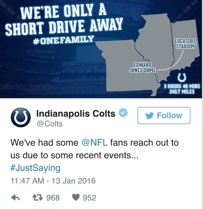 Colts tried to land some St. Louis fans via social media