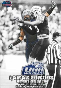 UNH defensive back Lamar Edmonds is a hard hitting, ballhawking DB with good length.