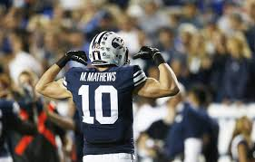 BYU wide out Mitch Mathews is a big, long armed wide out with good route running ability. Could be a great red zone threat for an NFL team