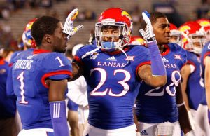 Ronnie Davis the defensive back of Kansas is a freak. I love this kid's abilities on the field