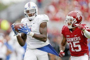 Tulsa wide out Keyarris Garrett has some long arms. He  had the longest arms of all wide receivers at the NFL Scouting Combine