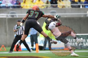 Bethune Cookman Wildcats defenuve back Marquis Drayton (6) intercepts the ball in front of Florida A&M Rattlers tight end