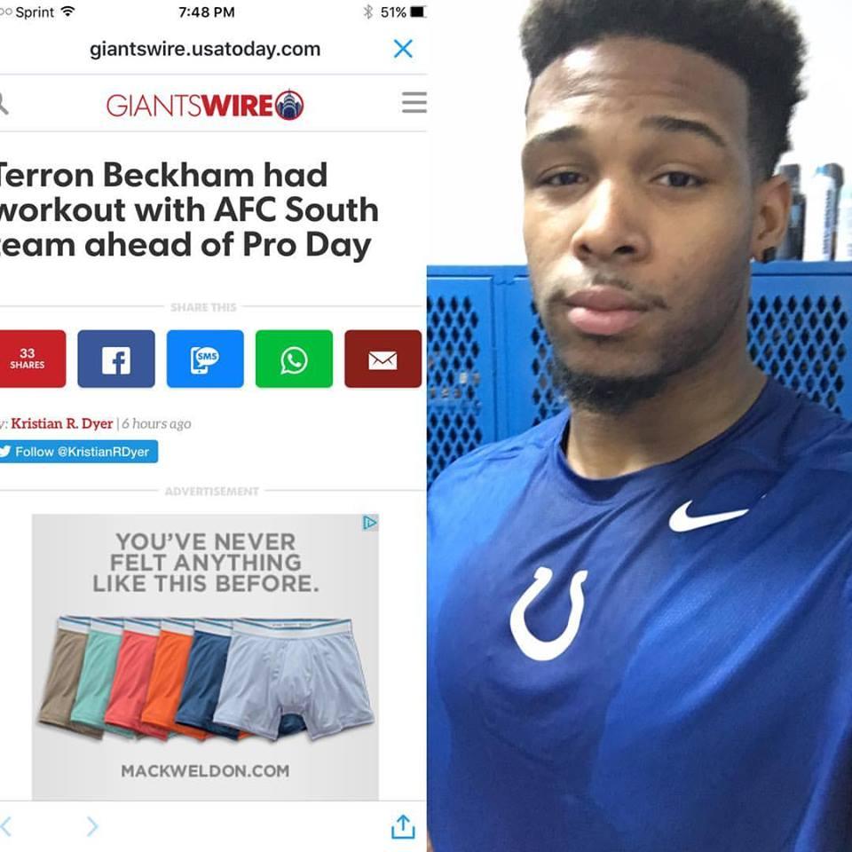 Terron Beckham had a workout with the Colts