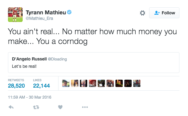 Tyrann Mathieu went in on D'Angelo Russell