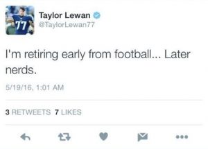 Is Taylor Lewan upset about something?