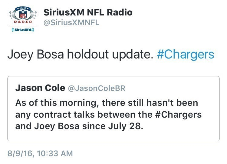 Joey Bosa And Chargers Have Not Talked Since July 28th