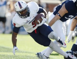 South Alabama running back Tyreis Thomas is a big boy, who runs hard. He is a patient runner with good burst