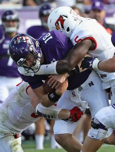 B.J. Bello of Illinois State is an animal. He is all over the field causing problems for the opposing teams offense.
