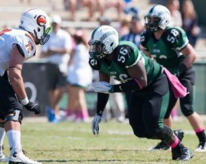 Stetson DT Davion Belk has quick feet and a hard punch. He gives O-Lineman hell up front