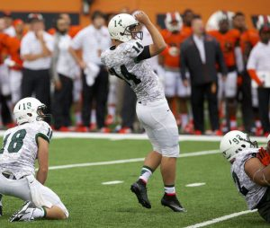 Jonathan Gonzales of Portland State is a big legged kicker