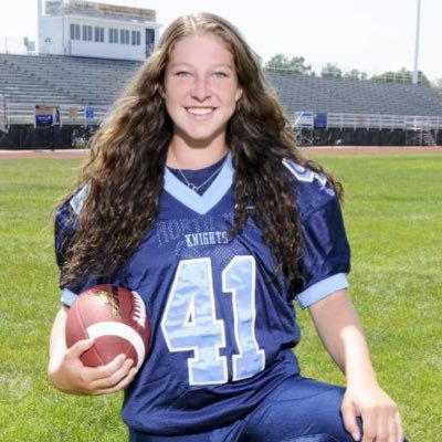 Knights kicker Kelly Macnamara helped her team get to 7-0 on the year. Keep it up Kelly!!!