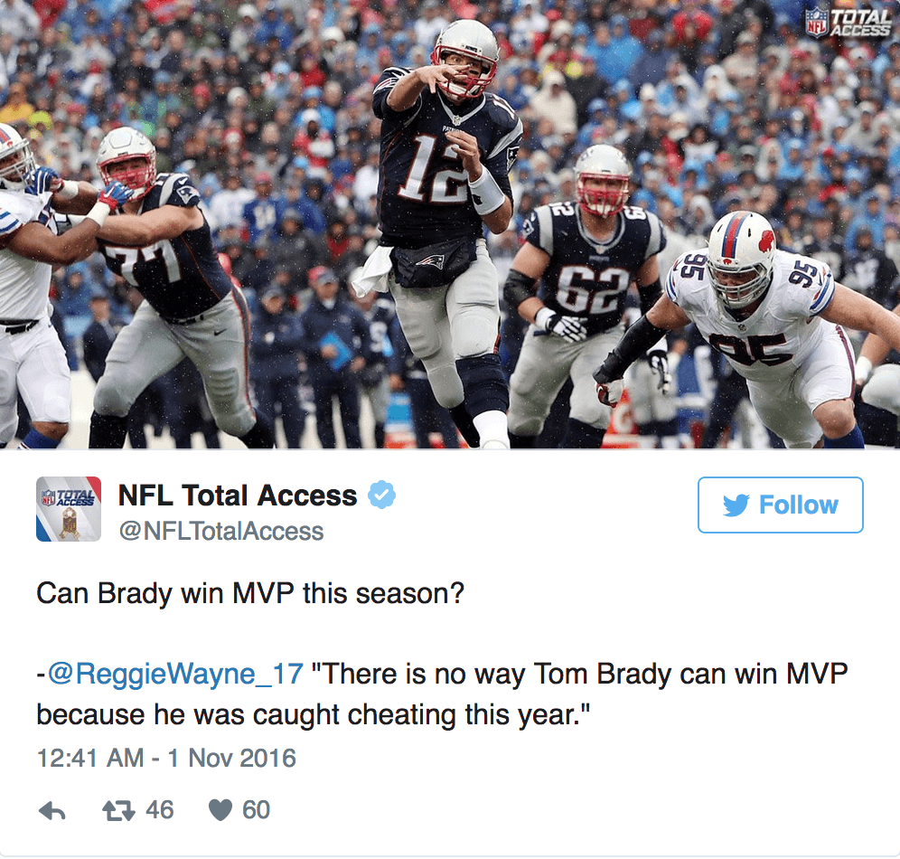 Tom Brady should not be able to win MVP?