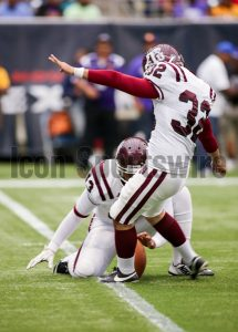 August 31, 2014: Texas Southern Tigers place kicker Eric Medina (32) during the Labor Day Classic  NCAA game between Prairie View A&M vs Texas Southern University at NRG Stadium in Houston, TX.