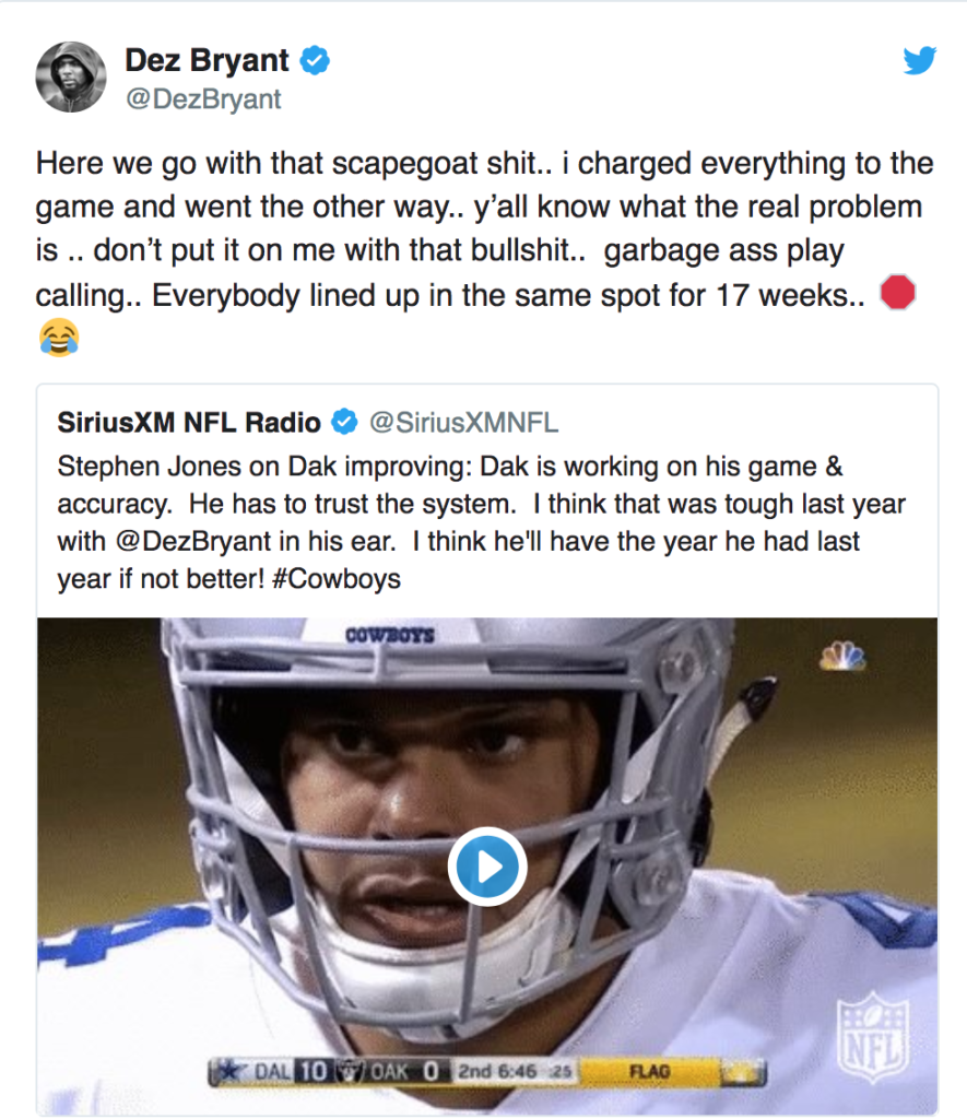 Dez Bryant Went On An Epic Twitter Rant Calling Out