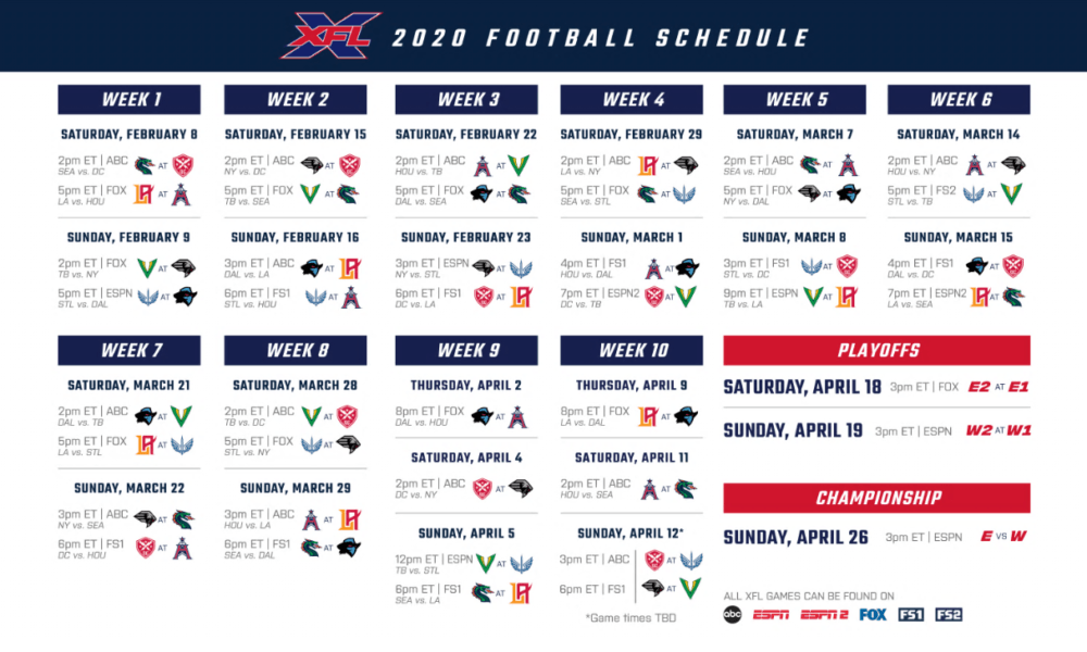 Xfl Season Schedule Released Find Out Who Plays Who In The