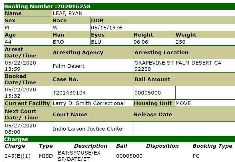 Ryan Leaf arrest