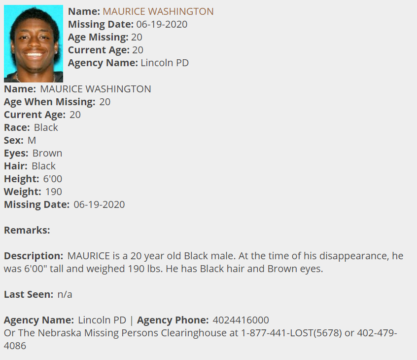 Maurice Washington Missing Person