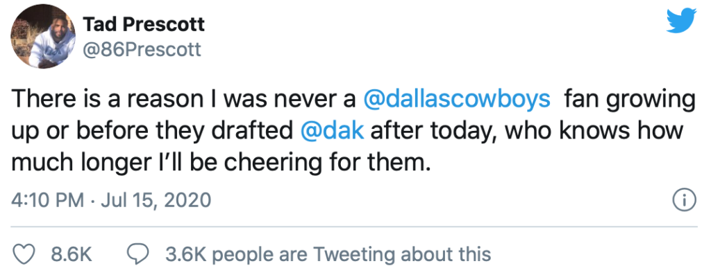 Dak's brother tweet