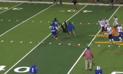 Multiple videos from a YouTube stream show an ejected Edinburg HS player, Emmanuel Duron, running back onto the field from the sidelines to slam an official.