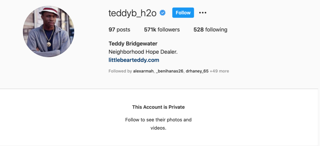 Teddy Bridgewater Instagram Account made private Panthers