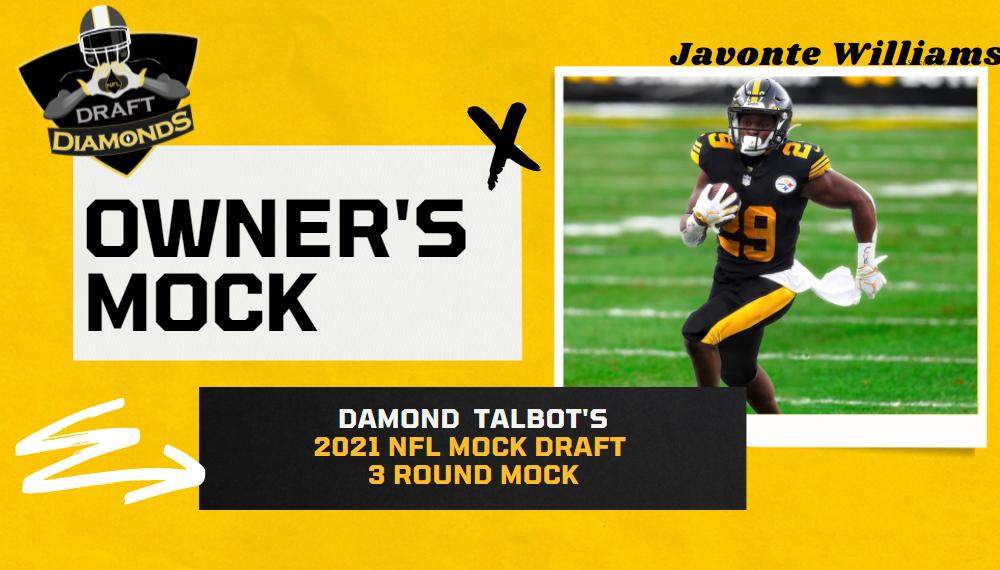 Javonte Williams Steelers Edit NFL Draft Diamonds Owner Mock Draft