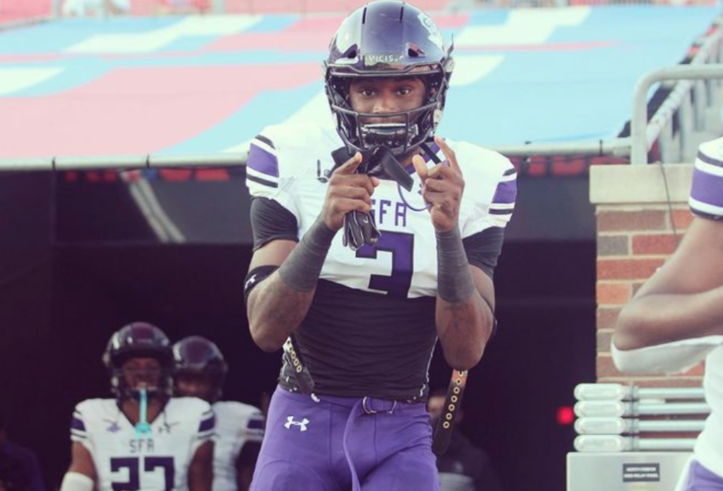 BJ Thompson the long and athletic defensive end from Stephen F. Austin