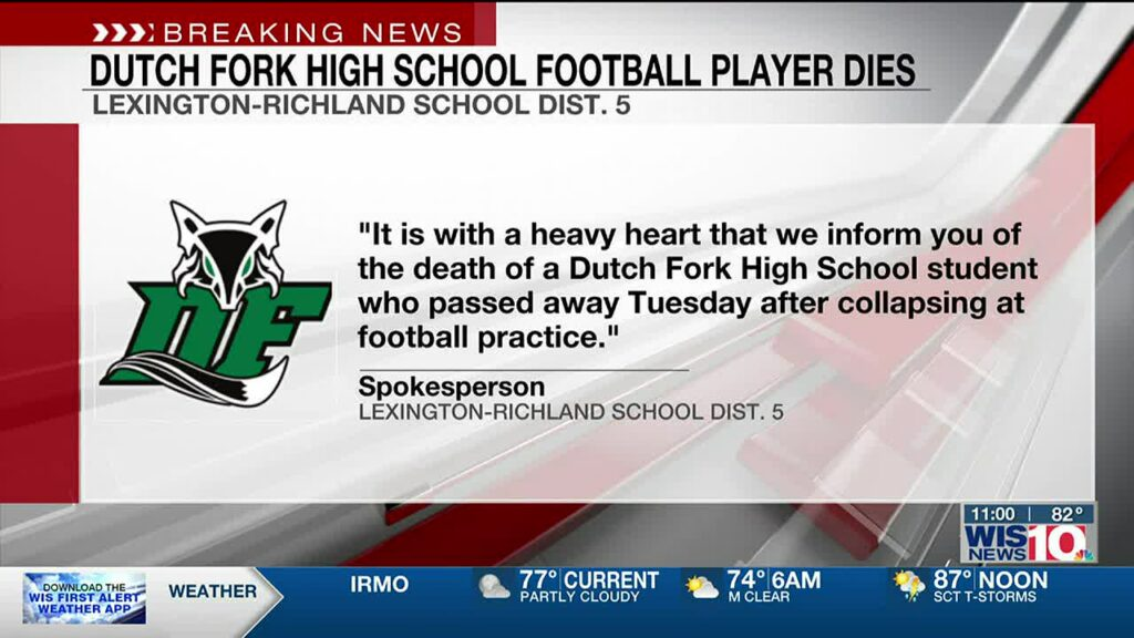 Dutch Fork South Carolina High School Football Player collapsed and died on the field.
