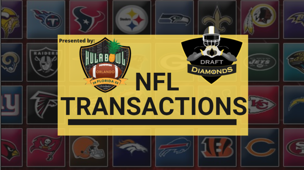 NFL Transactions for Today! Every day we track each and every roster cut, trade, workout, and signing here on NFL Draft Diamonds.