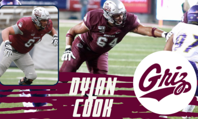 Montana offensive lineman Dylan Cook is a former quarterback turned offensive lineman.