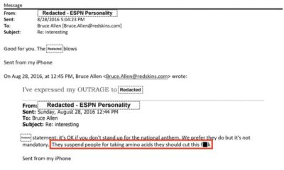 Email from Washington Football team